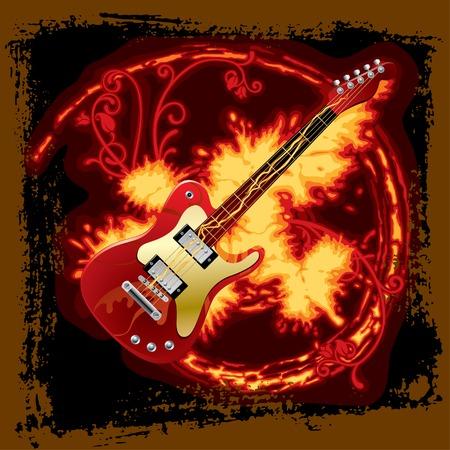Vector fire electric guitar Stock Vector - 4990544