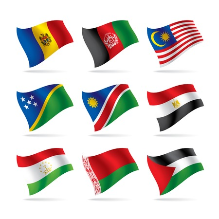 Vector set of world flags 6 Çizim