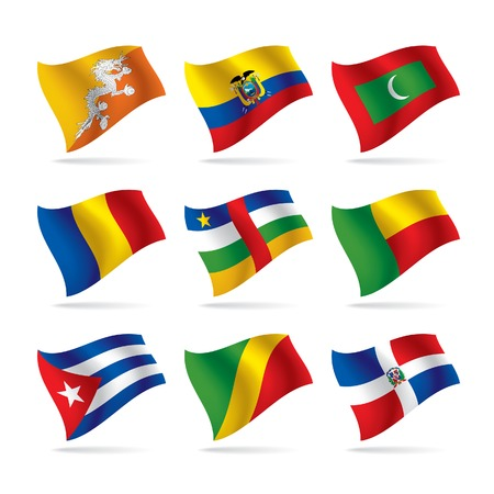 Vector set of world flags 7 Çizim