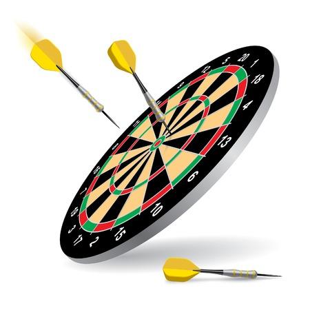 Vector dartboard with darts