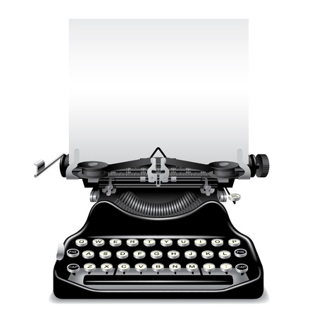 Vector old typewriter with a paper Stock Vector - 4990540