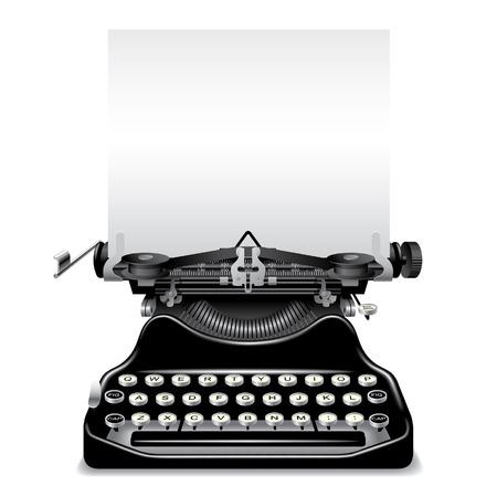typewriter: Vector vieja m�quina de escribir con un papel