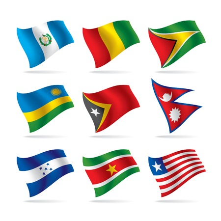 Vector set of world flags 9 Çizim