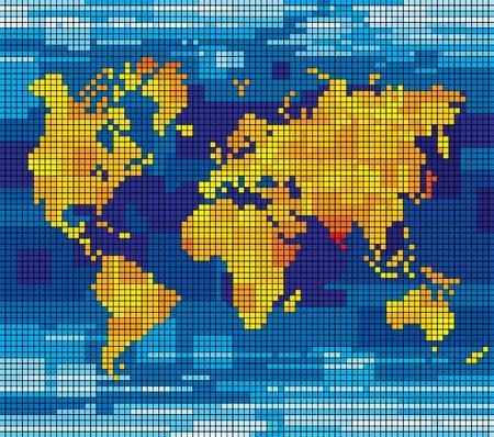 ベクトル ピクセル世界地図