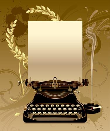ゴールドの栄冠を持つ古いタイプライターのベクトル