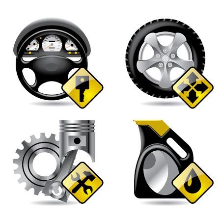 一連のベクトル自動車サービスおよび修理関連アイコン  イラスト・ベクター素材