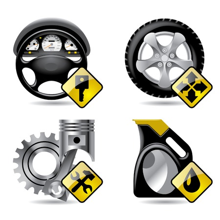 Set of vector automobile service and repair related icons Vector