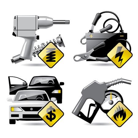 一連のベクトル自動車サービスおよび修理関連アイコン 2