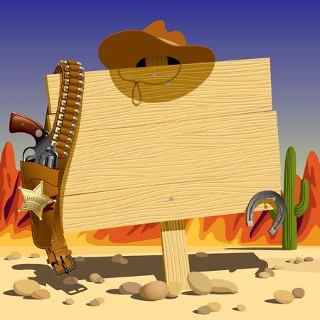pancarte bois: Vector illustration d'un panneau de bois dans l'Ouest sauvage Illustration
