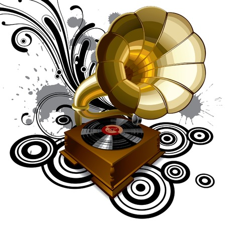 gramophone: Vector background with a gramophone
