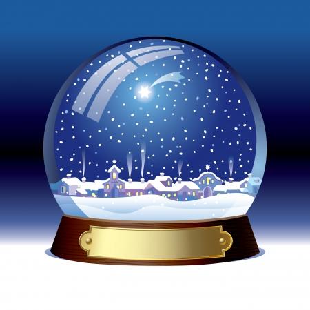 内町とベクトルの雪の世界  イラスト・ベクター素材