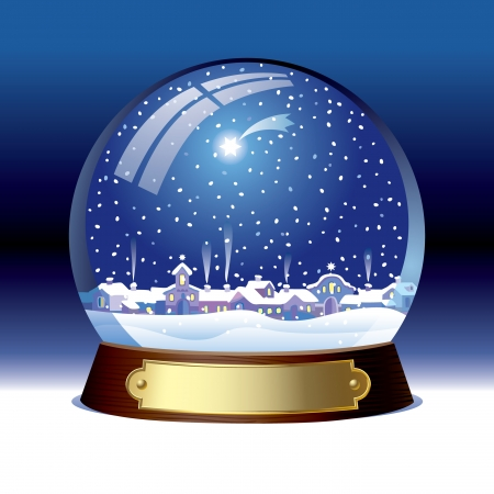 snow cap: Vector snow globe with a town within