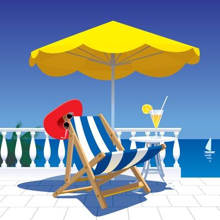 Immage vector de los blancos terraza con vistas al mar Ilustración de vector