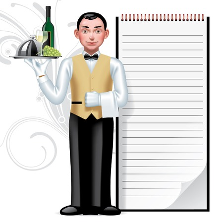 Vector immage of a young waiter & writing pad 일러스트