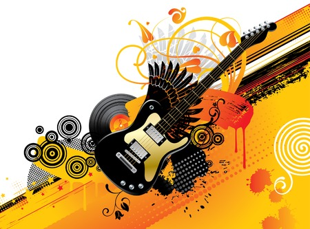 Vector background with a guitar Vector