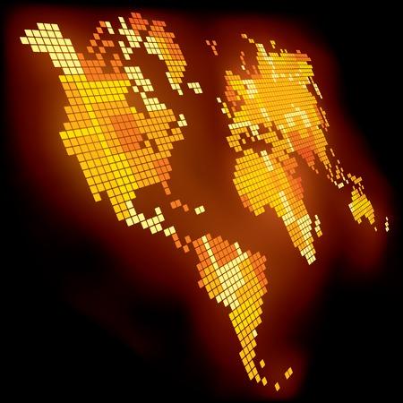 ベクトル輝くピクセル世界地図