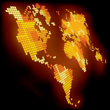intense: Vector luminoso pixel mappa del mondo