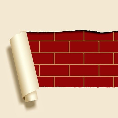 Vector image of ripped paper on a brickwall