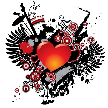 Vector illustration on a musical theme with a heart Vector
