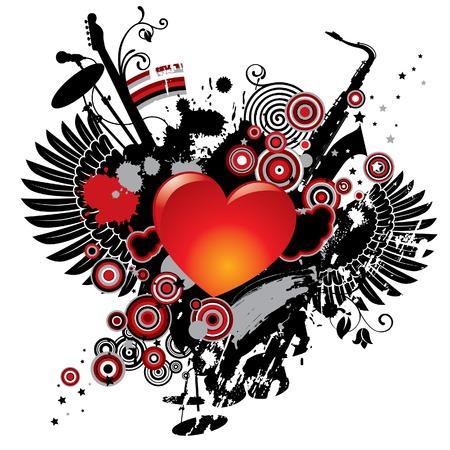 corazon con alas: Vector ilustraci�n de un tema musical con un coraz�n Vectores