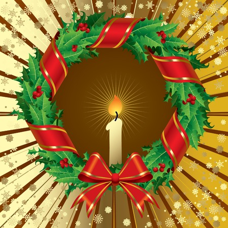 Vector green holly wreath on a gold background Stock Vector - 4990585