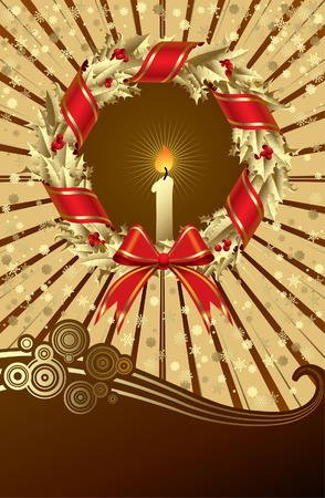 Vector Christmas & New Year's greeting card with a gold holly wreath Stock Vector - 5061963