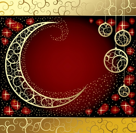 newyears: Vector Christmas & New-Years card with a moon Illustration