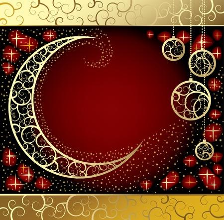adornment: Vector Natale & Anno Nuovo-carta con una luna Vettoriali