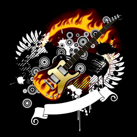 guitar illustration: Vector black background with a guitar