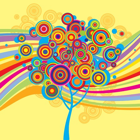 Vector multicolored background with a tree Vector