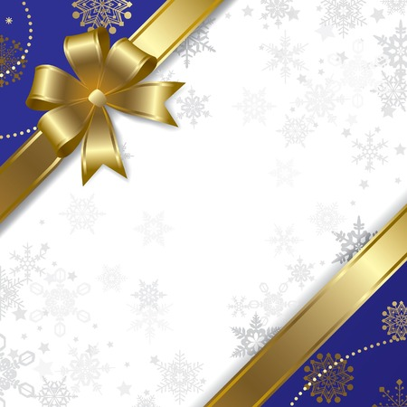 Vector Christmas & New-Year's greeting card with a gold ribbon Çizim