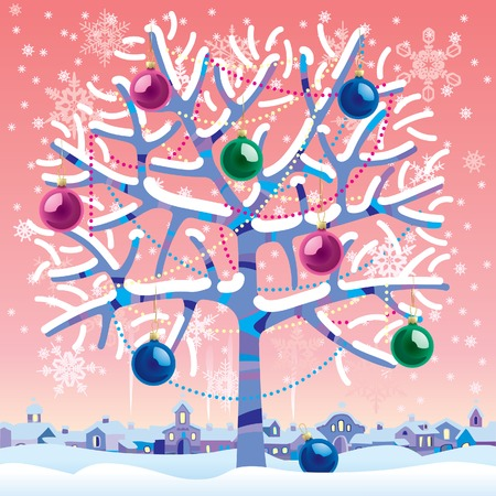 newyears: Vector Christmas & New-Years greeting card with a winter tree