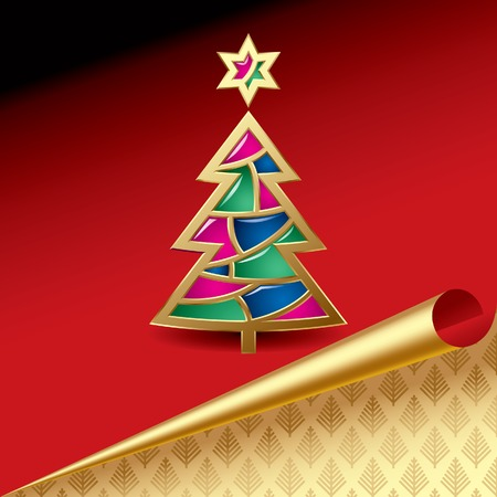 newyears: Vector Christmas & New-Years greeting card with a gold tree