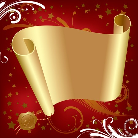 newyears: Vector Christmas & New-Years gold parchment