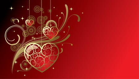 Vector greeting card with hearts Vector