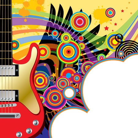 rock   roll: Vector background with a red guitar