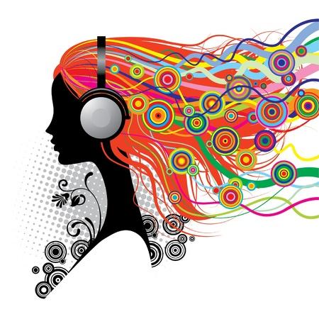 頭の携帯電話を持つ少女のベクトル画像