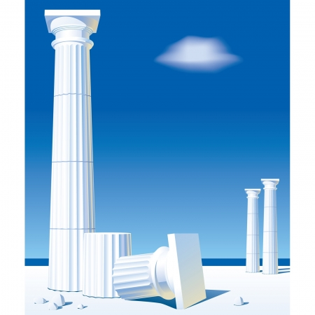 antic: Vector image of classical antic columns on the shore