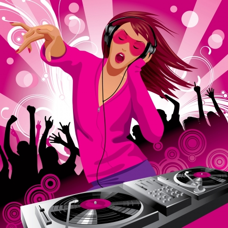 Vector image of beautiful DJ girl and people dancing at a party Çizim