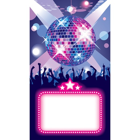 nightclub party: Vector image of disco banner with a party in the night club