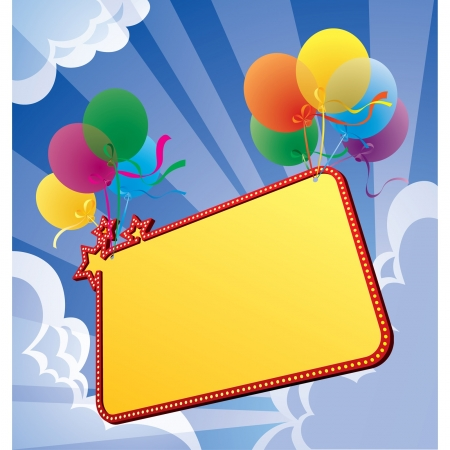 Vector image of a banner with balloons in the sky Stock Vector - 16415423
