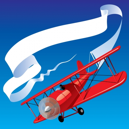 Vector image of vintage red airplane with blank banner in the sky Çizim