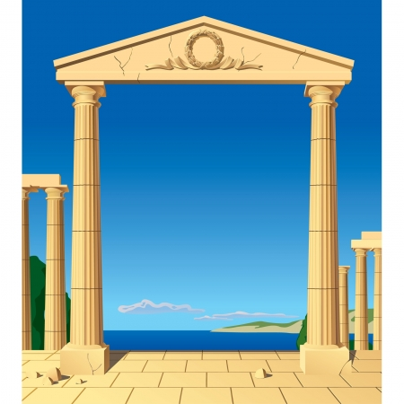 Vector image of classical antic entrance