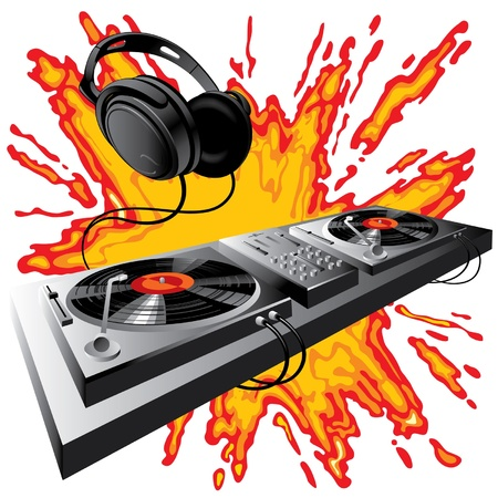 hear: Vector image of DJ control panel on a fiery ground Illustration