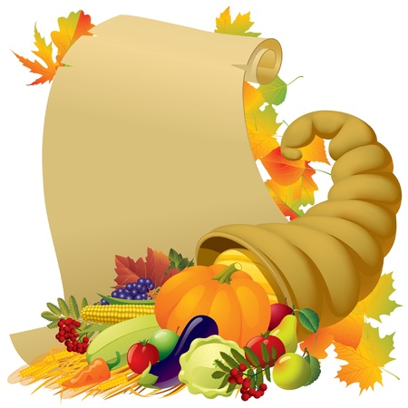 Vector image of a scroll with the Horn of Plenty and vegetables Vector