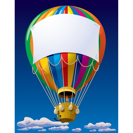 Vector image of an air balloon with a banner in the sky