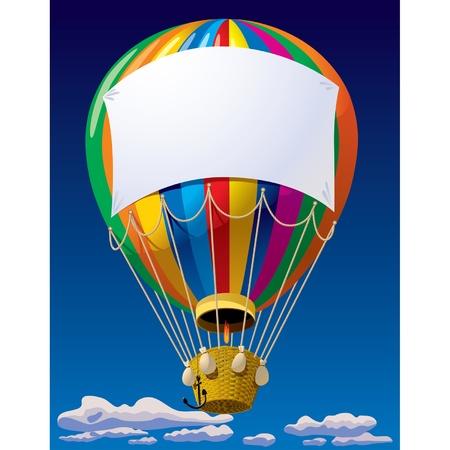 aerate: Vector immagine di una mongolfiera con uno striscione nel cielo