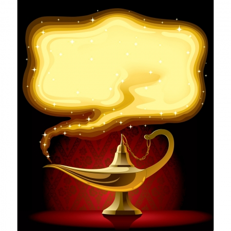 vector lamp: Vector poster with the Aladdins Magic Lamp