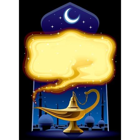 genio de la lampara: Vector cartel con la lámpara mágica de Aladino