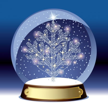 Vector snow globe with a silvre christmas tree within